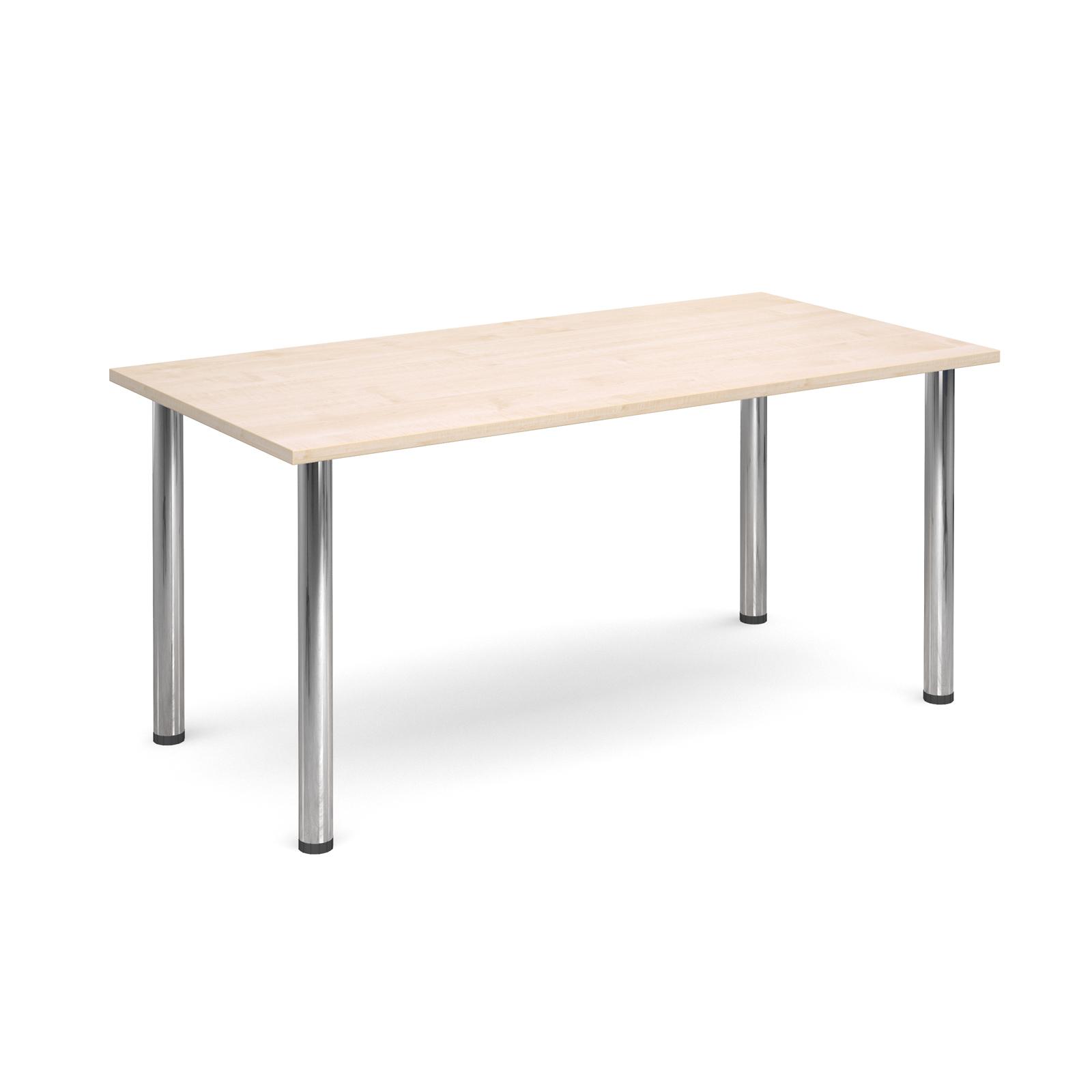 Rectangular deluxe chrome radial leg table 1600mm x 800mm - maple