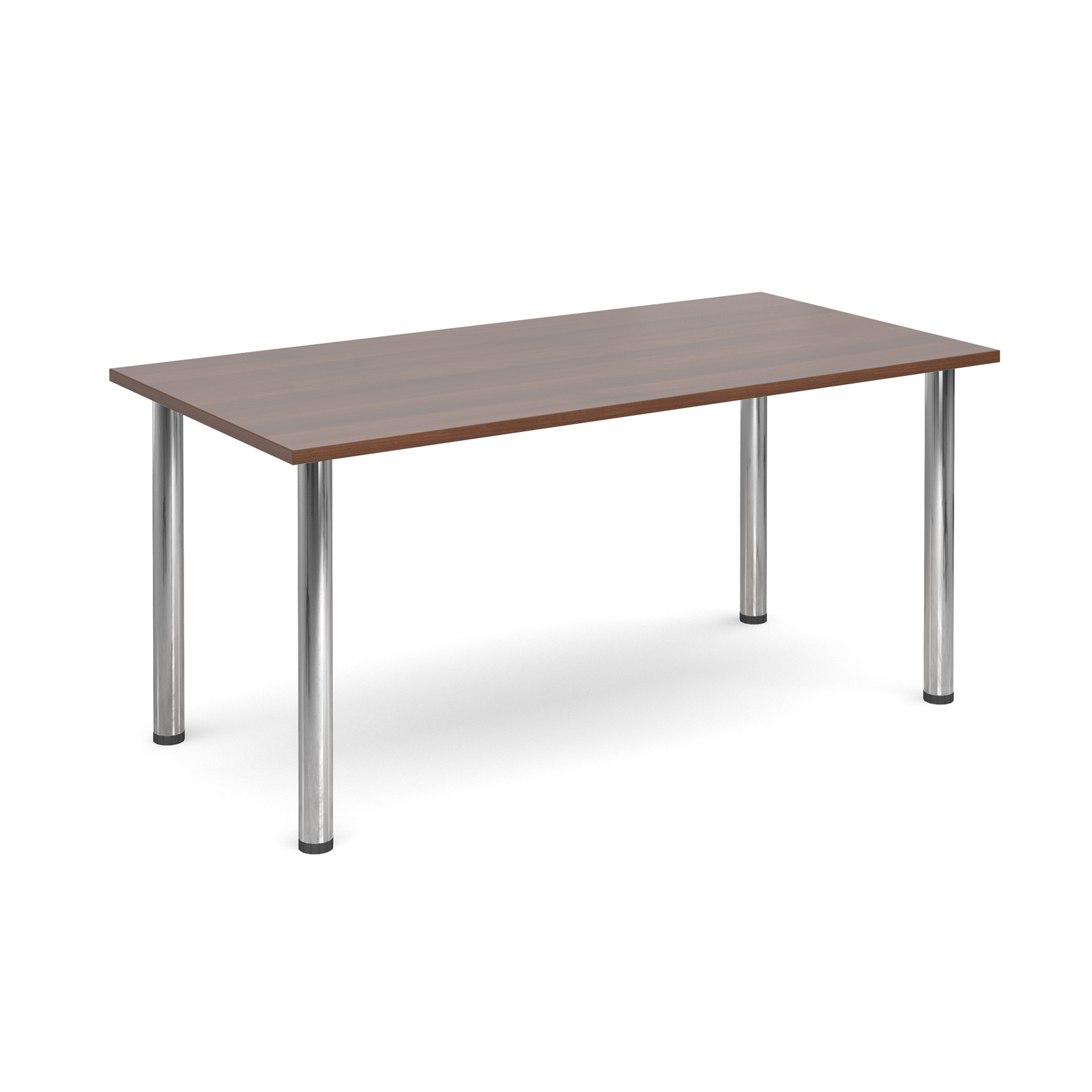Rectangular deluxe chrome radial leg table 1600mm x 800mm - walnut