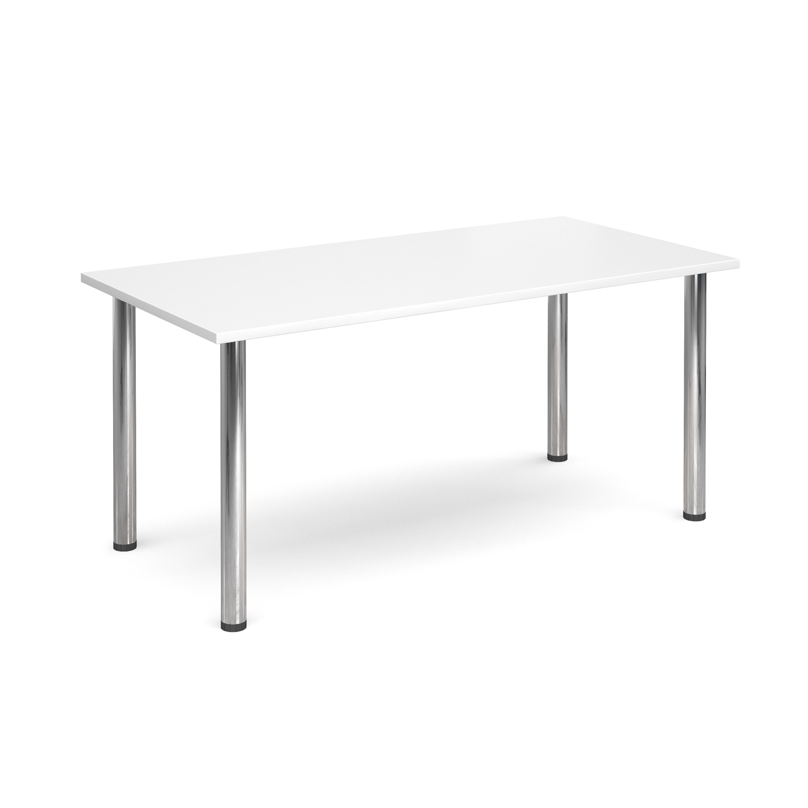 Rectangular deluxe chrome radial leg table 1600mm x 800mm - white