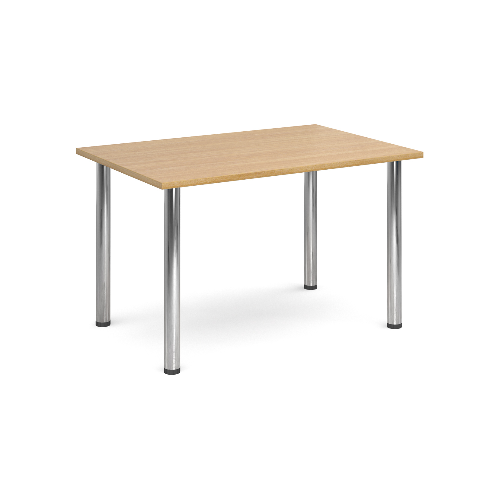 Rectangular deluxe chrome radial leg table 1300mm x 800mm - oak