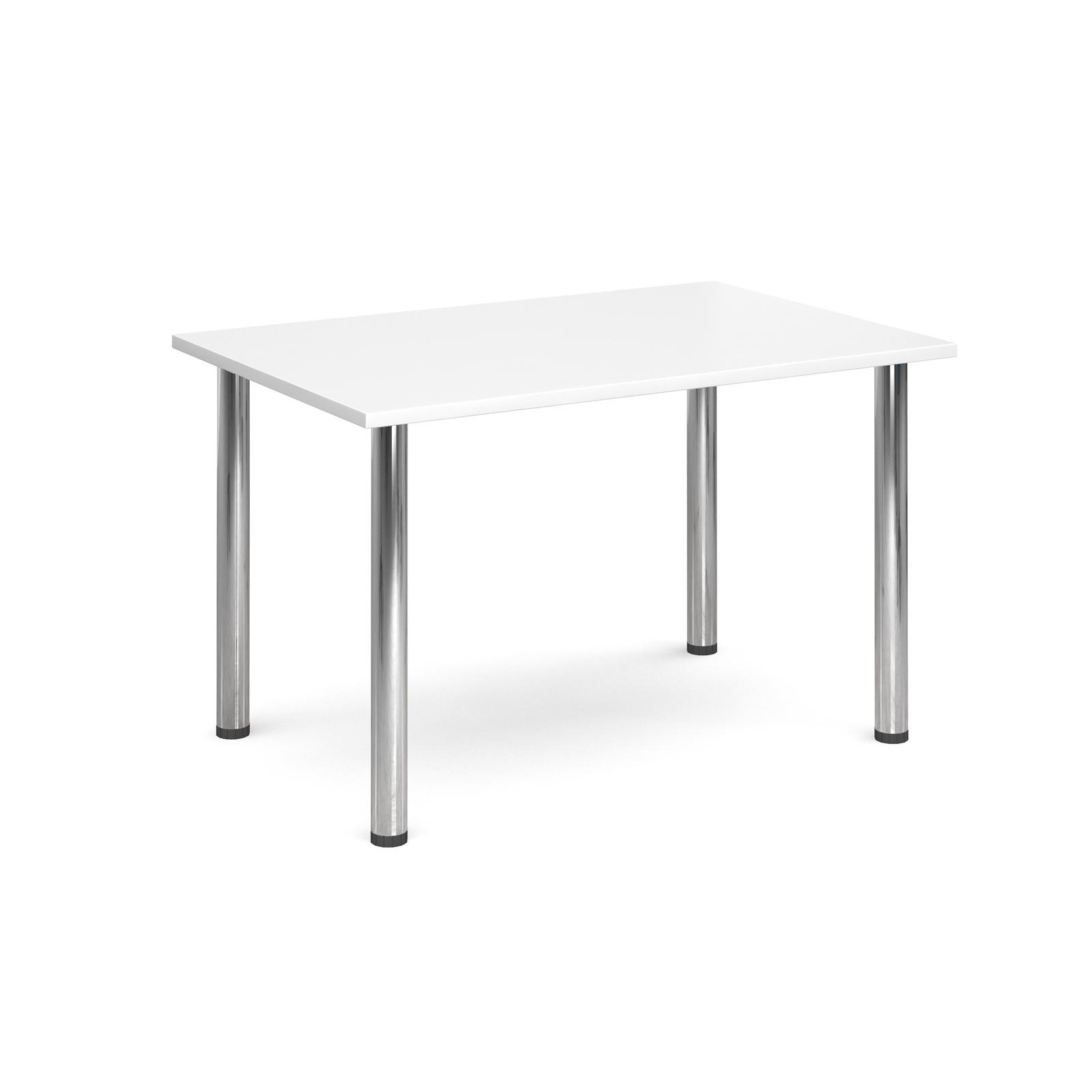 Rectangular deluxe chrome radial leg table 1300mm x 800mm - white