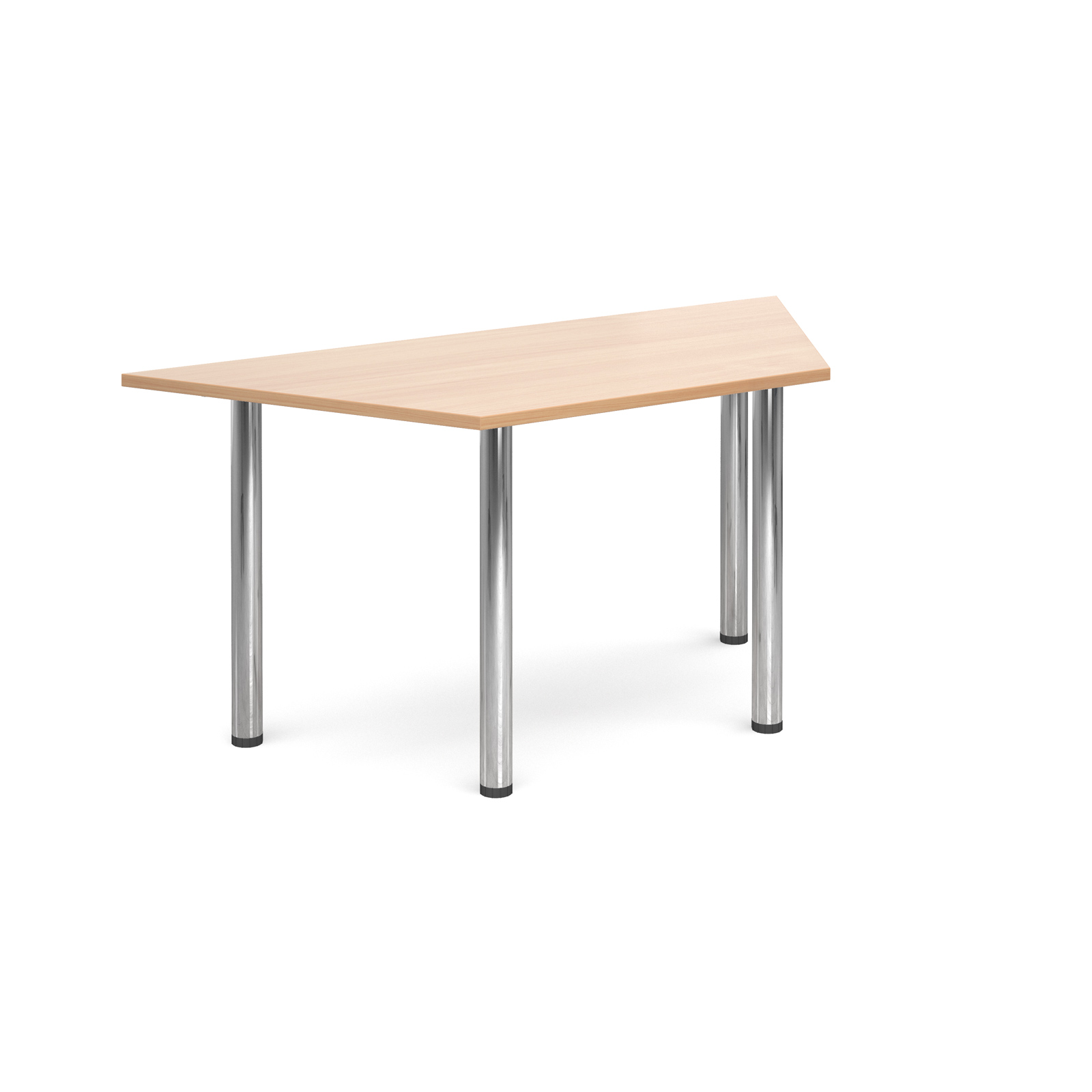 Trapezoidal deluxe chrome radial leg table 1600mm x 800mm - beech