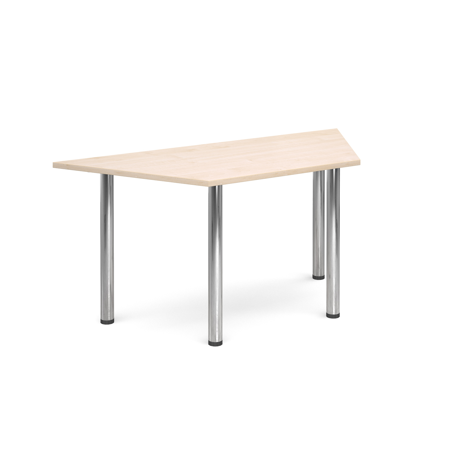 Trapezoidal deluxe chrome radial leg table 1600mm x 800mm - maple