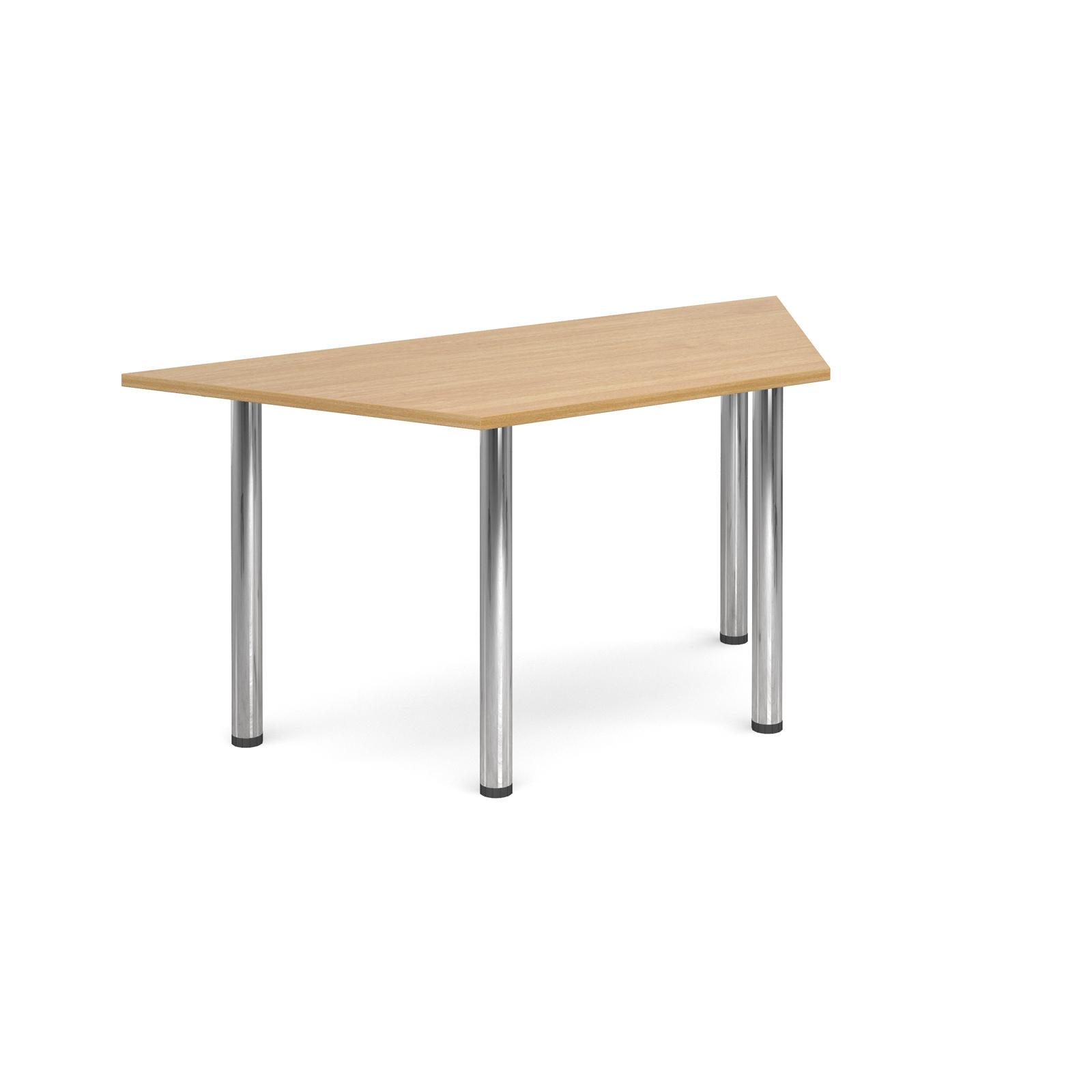 Trapezoidal deluxe chrome radial leg table 1600mm x 800mm - oak