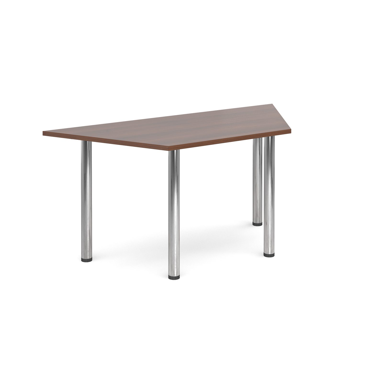 Trapezoidal deluxe chrome radial leg table 1600mm x 800mm - walnut