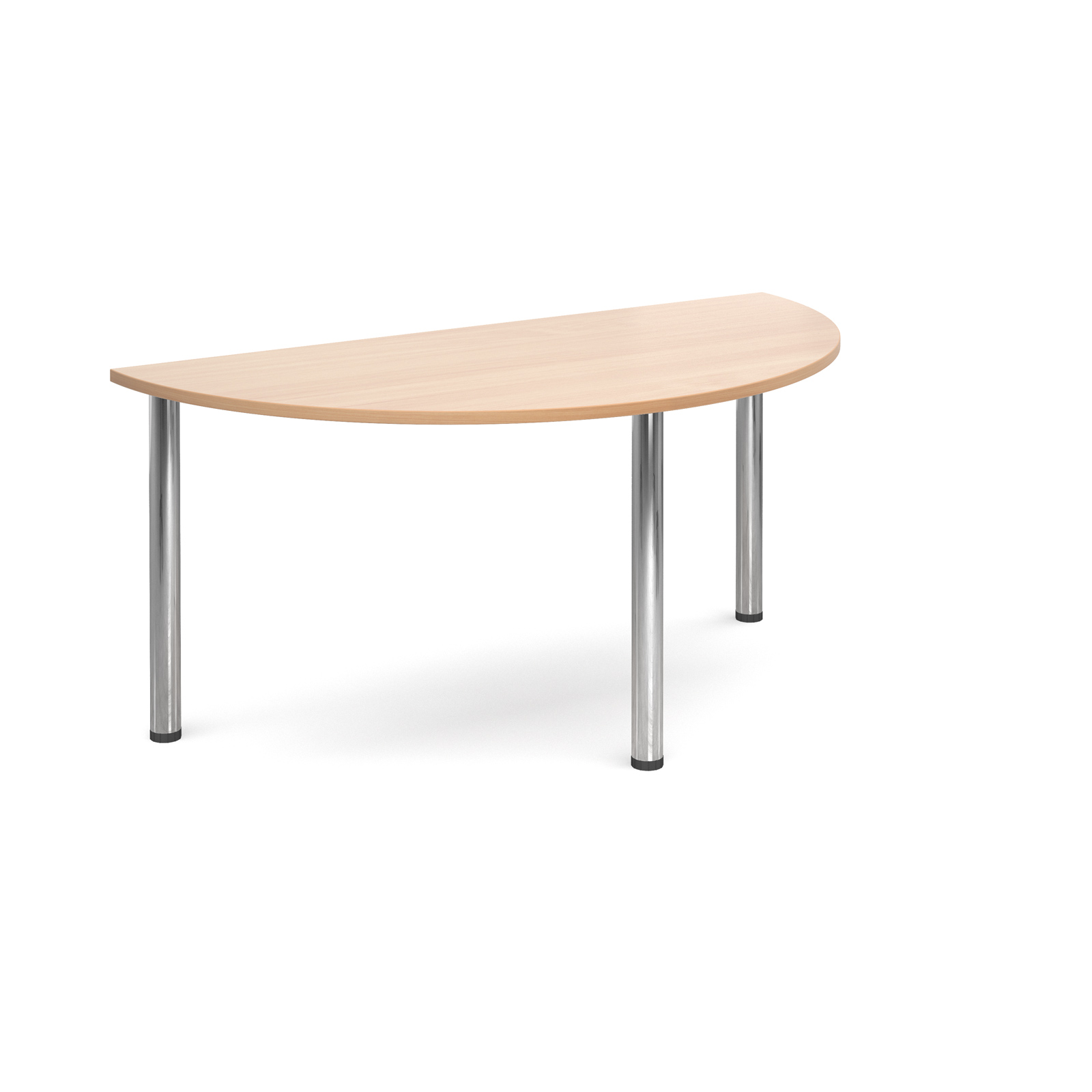 Semi circular deluxe chrome radial leg table 1600mm x 800mm - beech