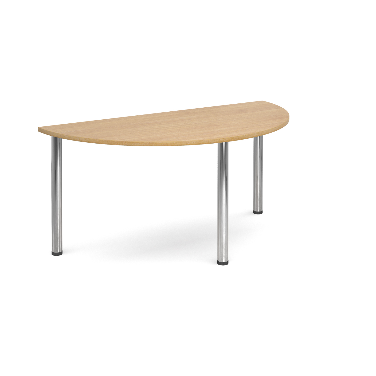 Semi circular deluxe chrome radial leg table 1600mm x 800mm - oak