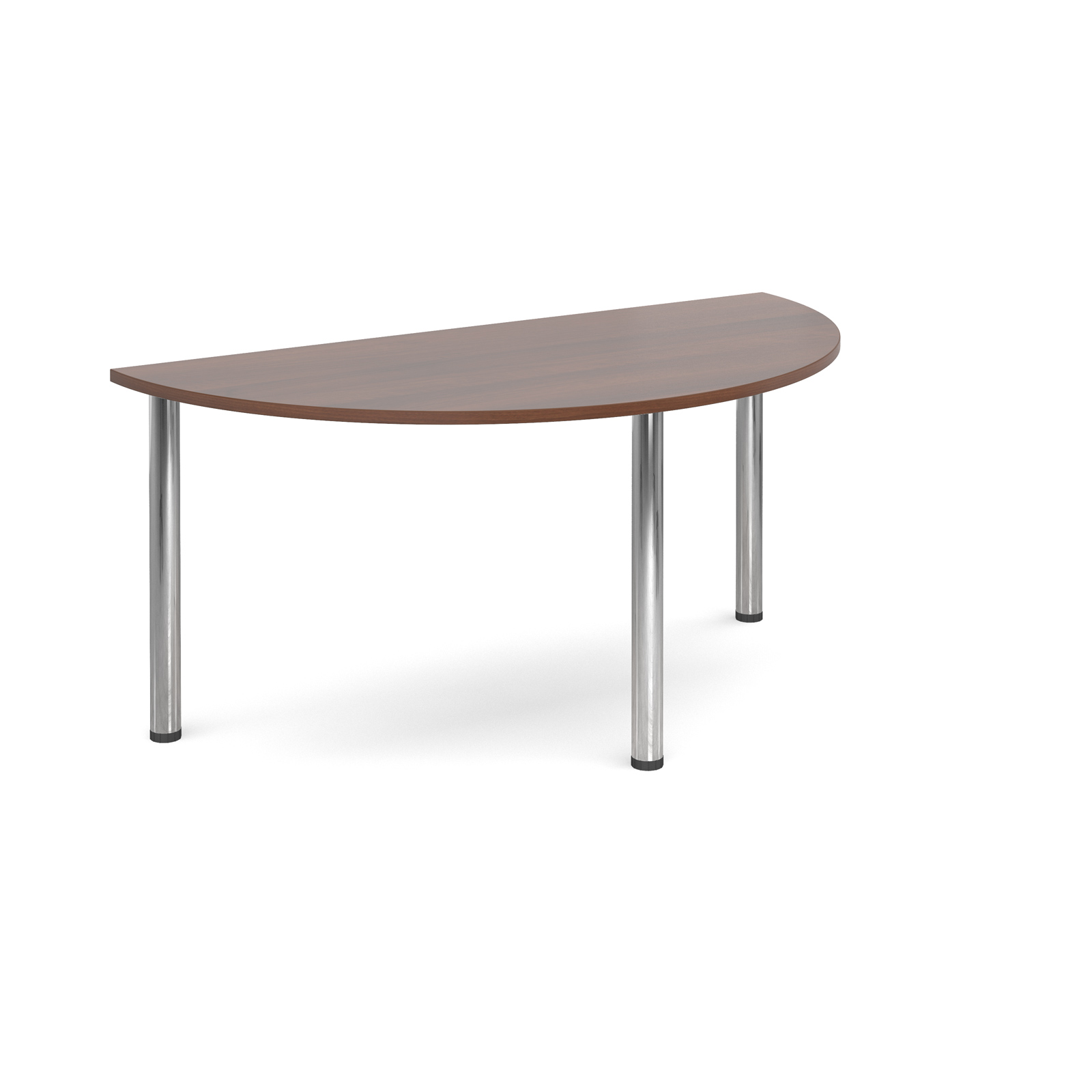 Semi circular deluxe chrome radial leg table 1600mm x 800mm - walnut
