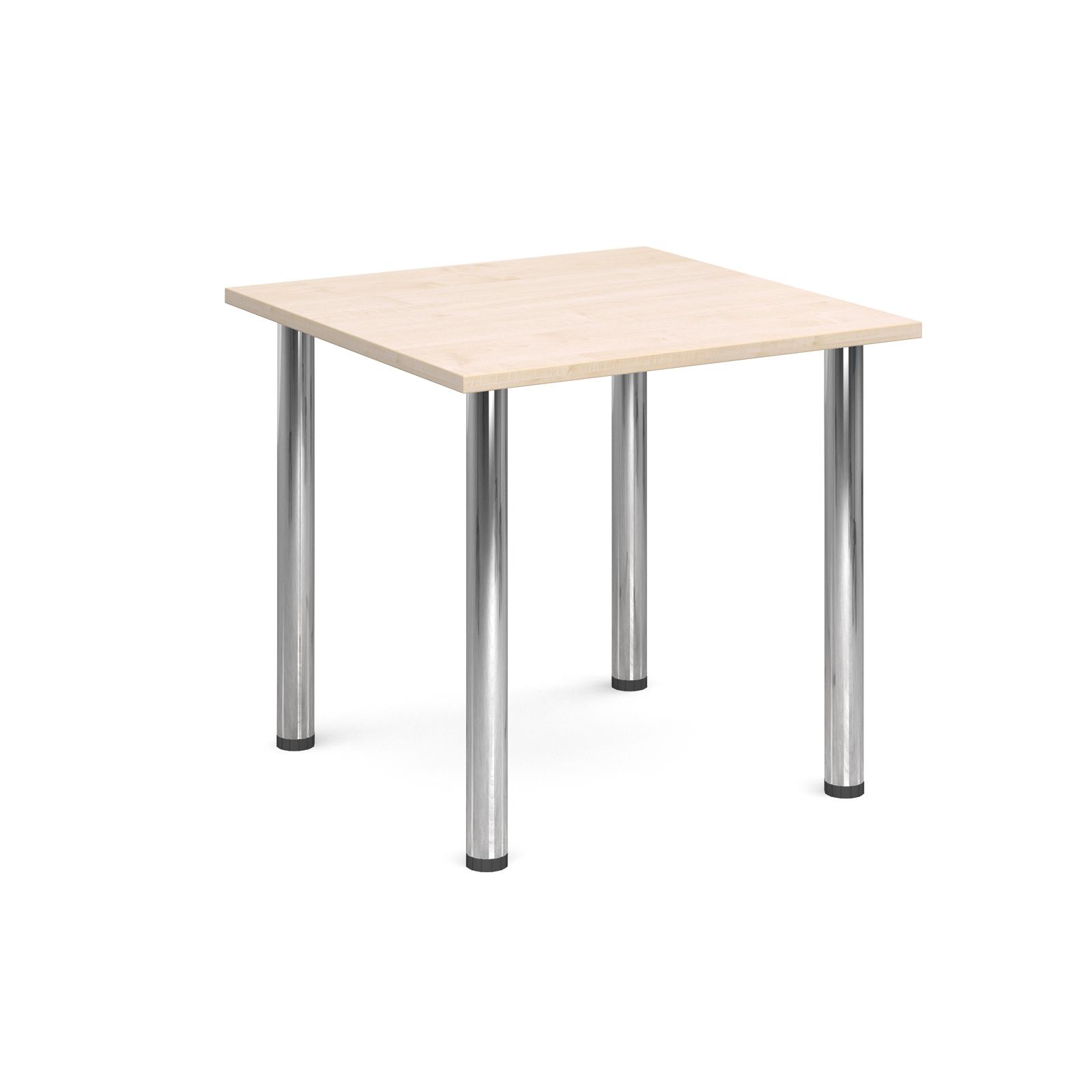 Rectangular deluxe chrome radial leg table 800mm x 800mm - maple