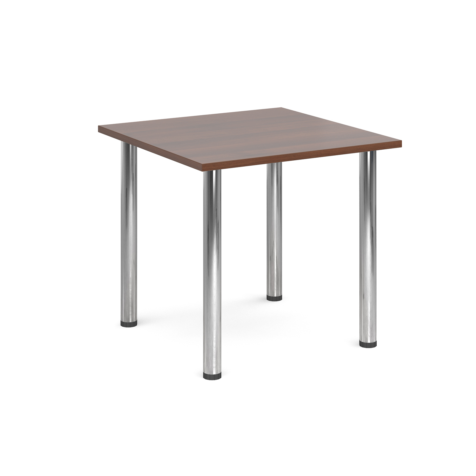 Rectangular deluxe chrome radial leg table 800mm x 800mm - walnut