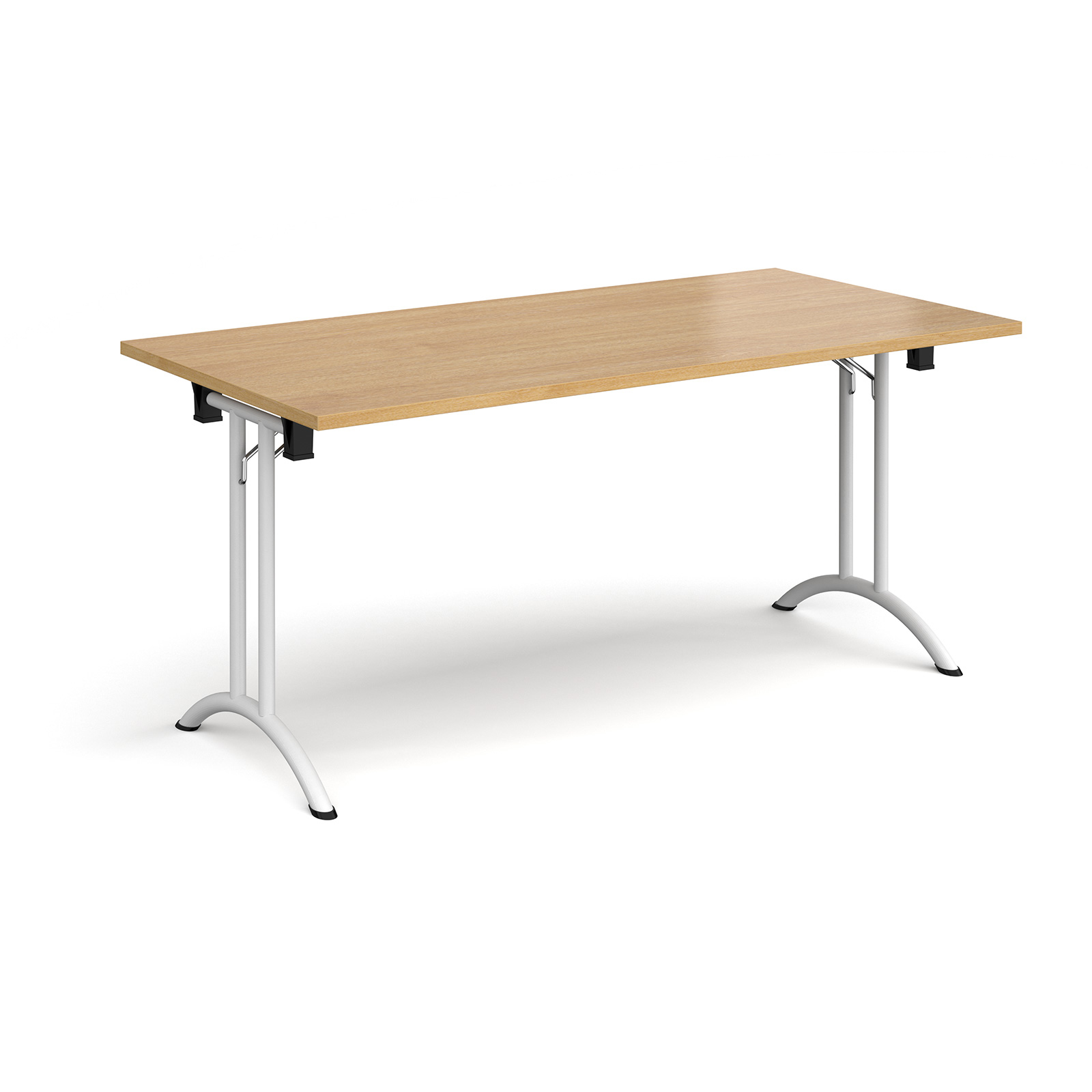 Rectangular Folding Leg Table With White And Curved Foot Rails 1600mm X 800mm Oak