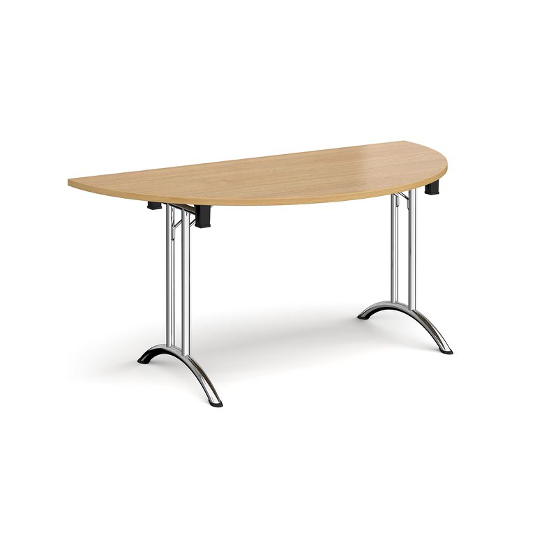 Semi Circular Folding Leg Table With Chrome And Curved Foot Rails 1600mm X 800mm