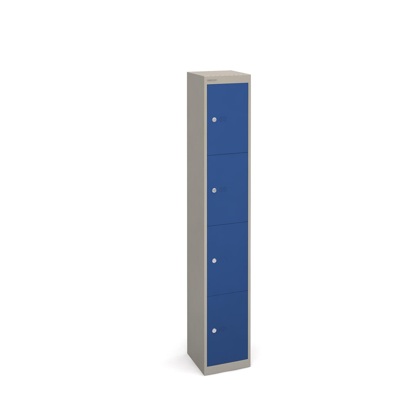 Bisley lockers with 4 doors 457mm deep - grey with blue doors