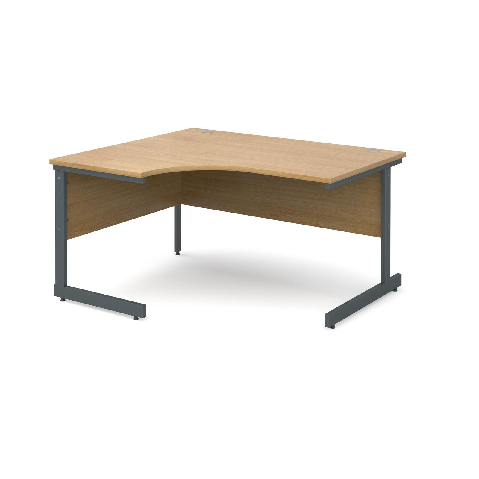 Contract 25 left hand ergonomic desk 1400mm - graphite cantilever frame, oak top
