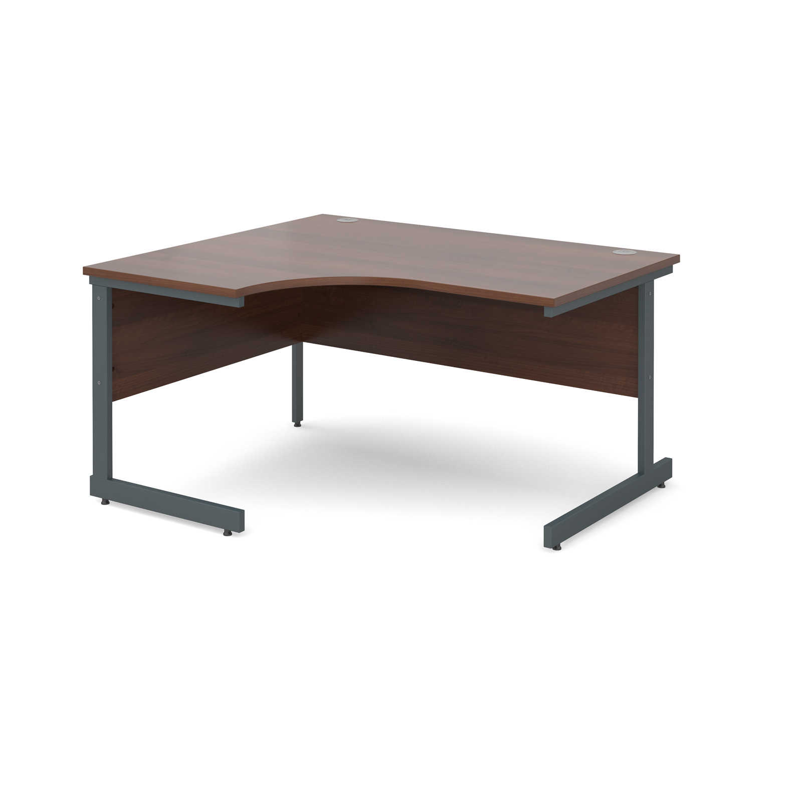 Contract 25 left hand ergonomic desk 1400mm - graphite cantilever frame, walnut top