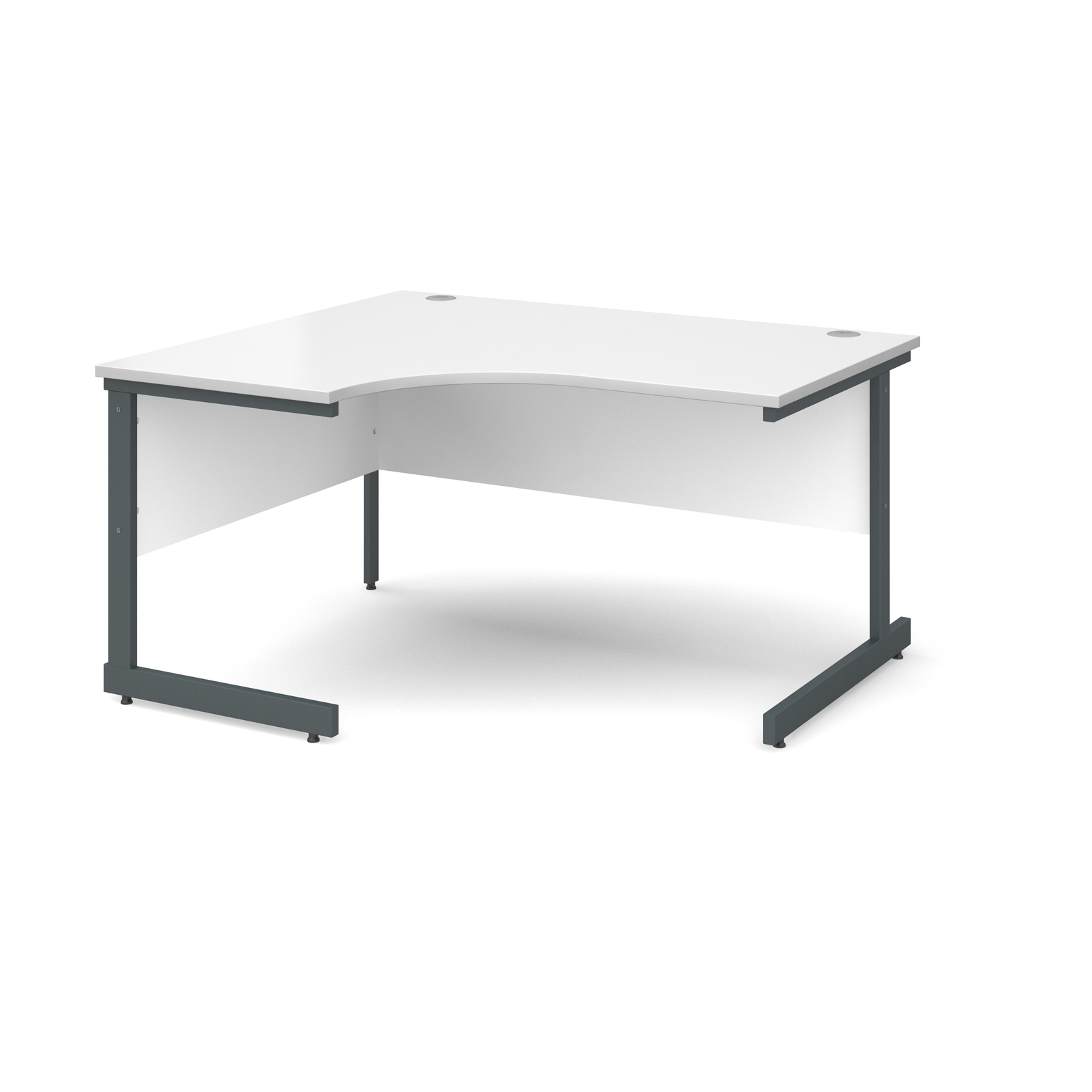 Contract 25 left hand ergonomic desk 1400mm - graphite cantilever frame, white top