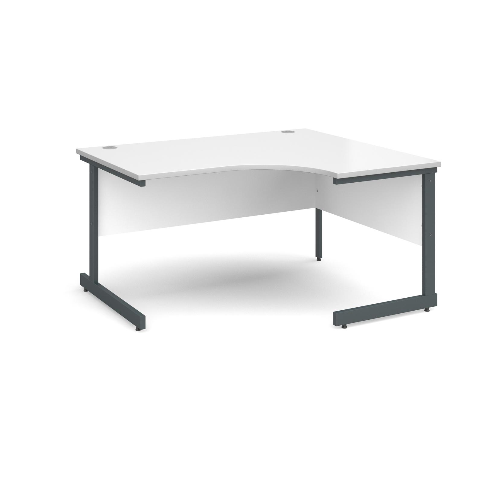 Contract 25 right hand ergonomic desk 1400mm - graphite cantilever frame, white top