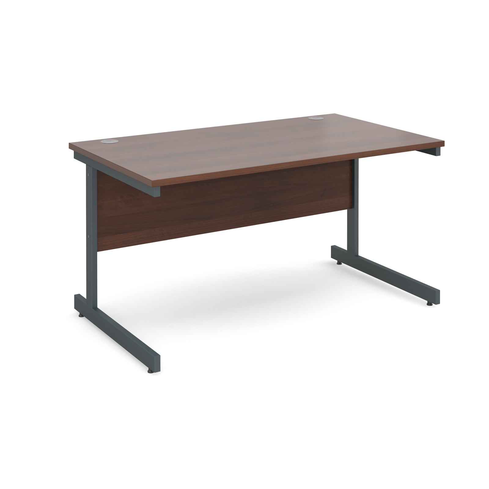 Contract 25 straight desk 1400mm x 800mm - graphite cantilever frame, walnut top