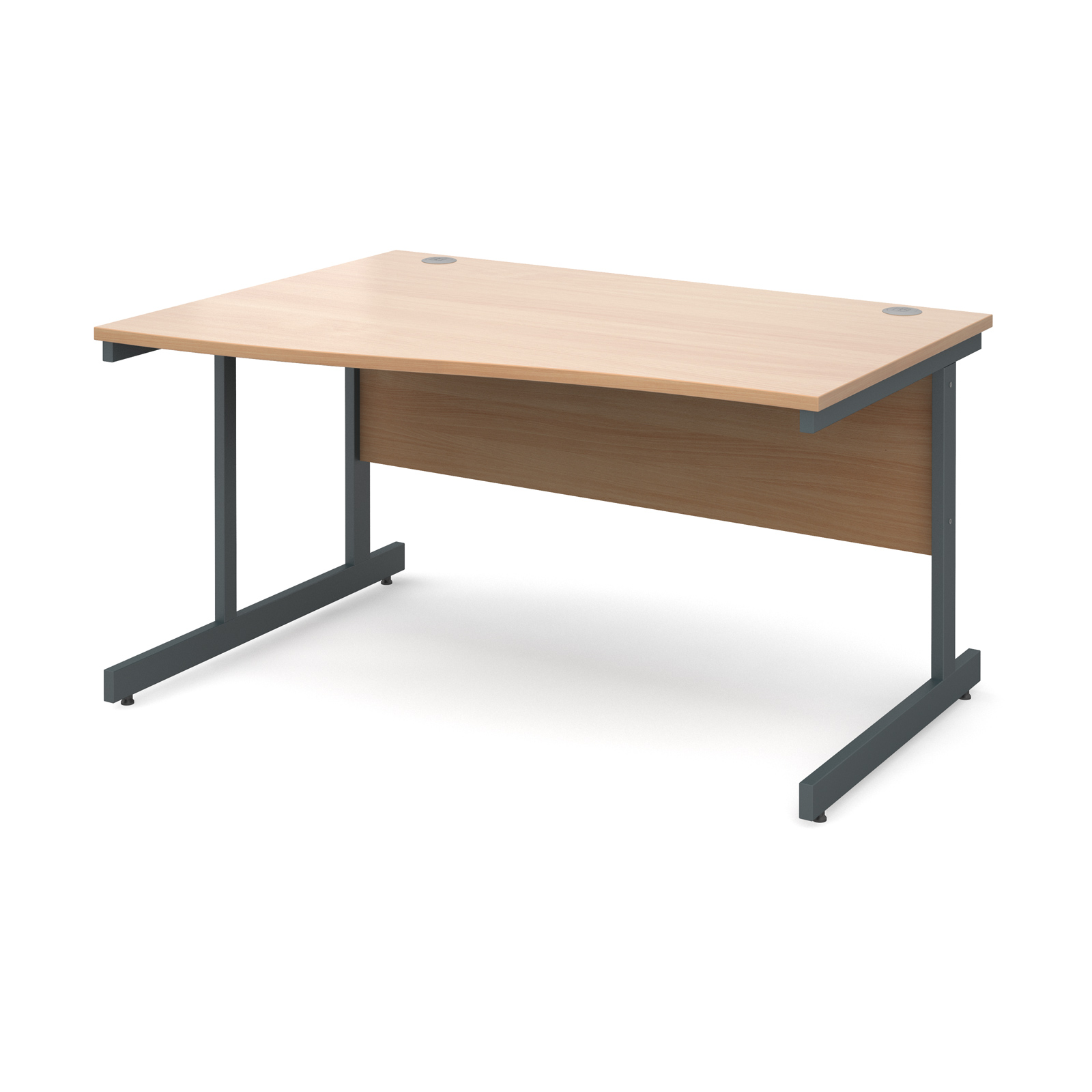 Contract 25 left hand wave desk 1400mm - graphite cantilever frame, beech top