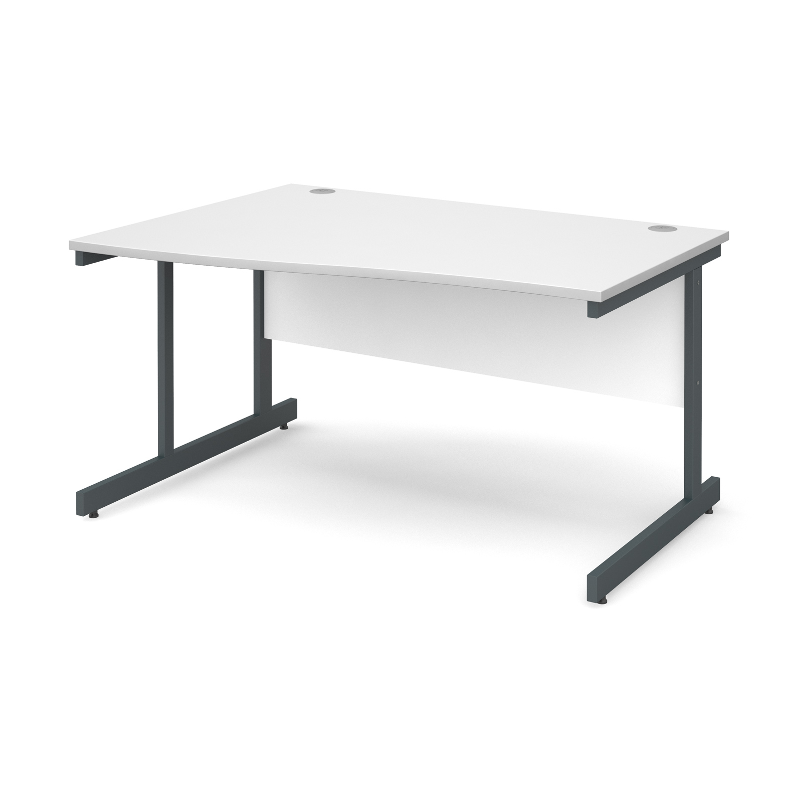 Contract 25 left hand wave desk 1400mm - graphite cantilever frame, white top