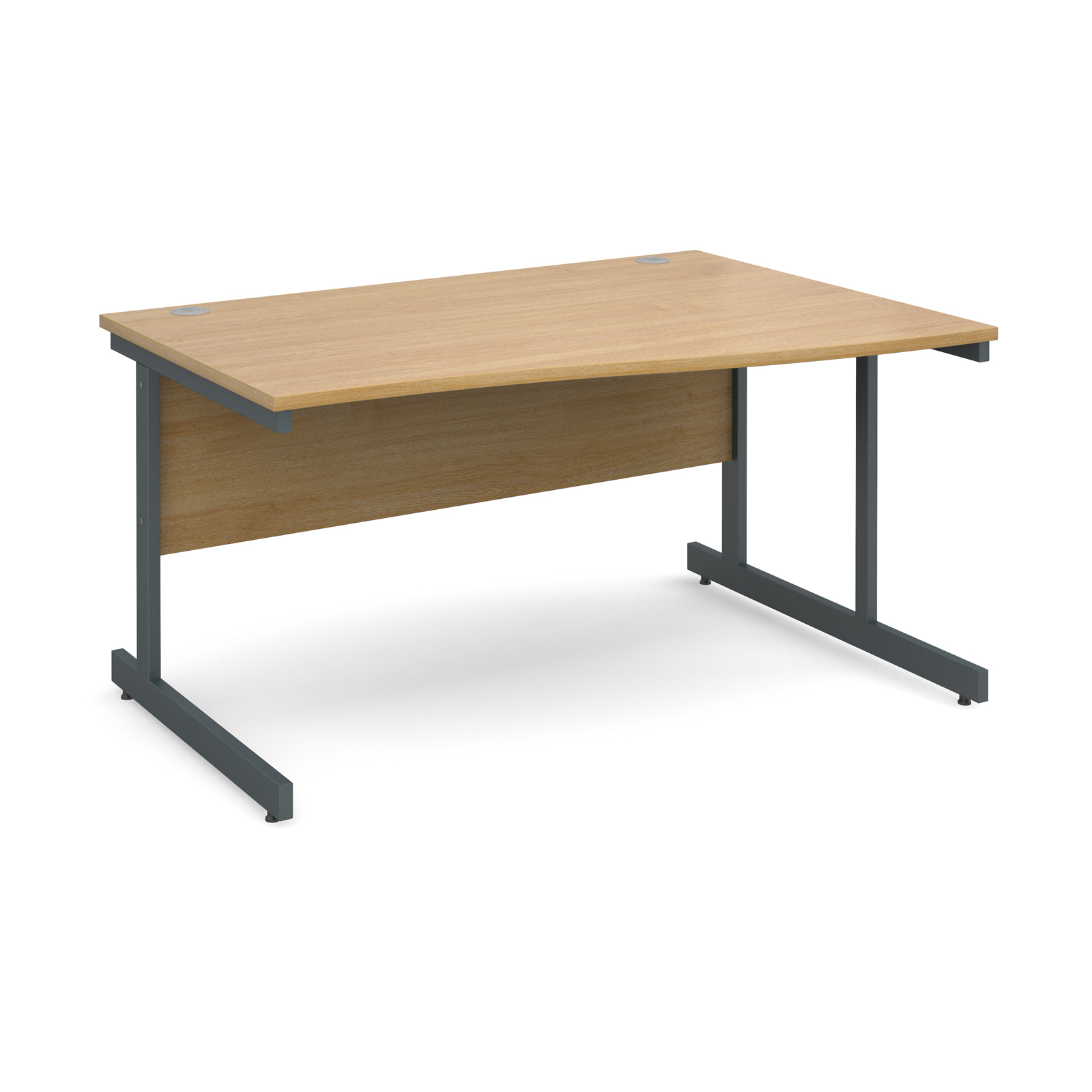 Contract 25 right hand wave desk 1400mm - graphite cantilever frame, oak top