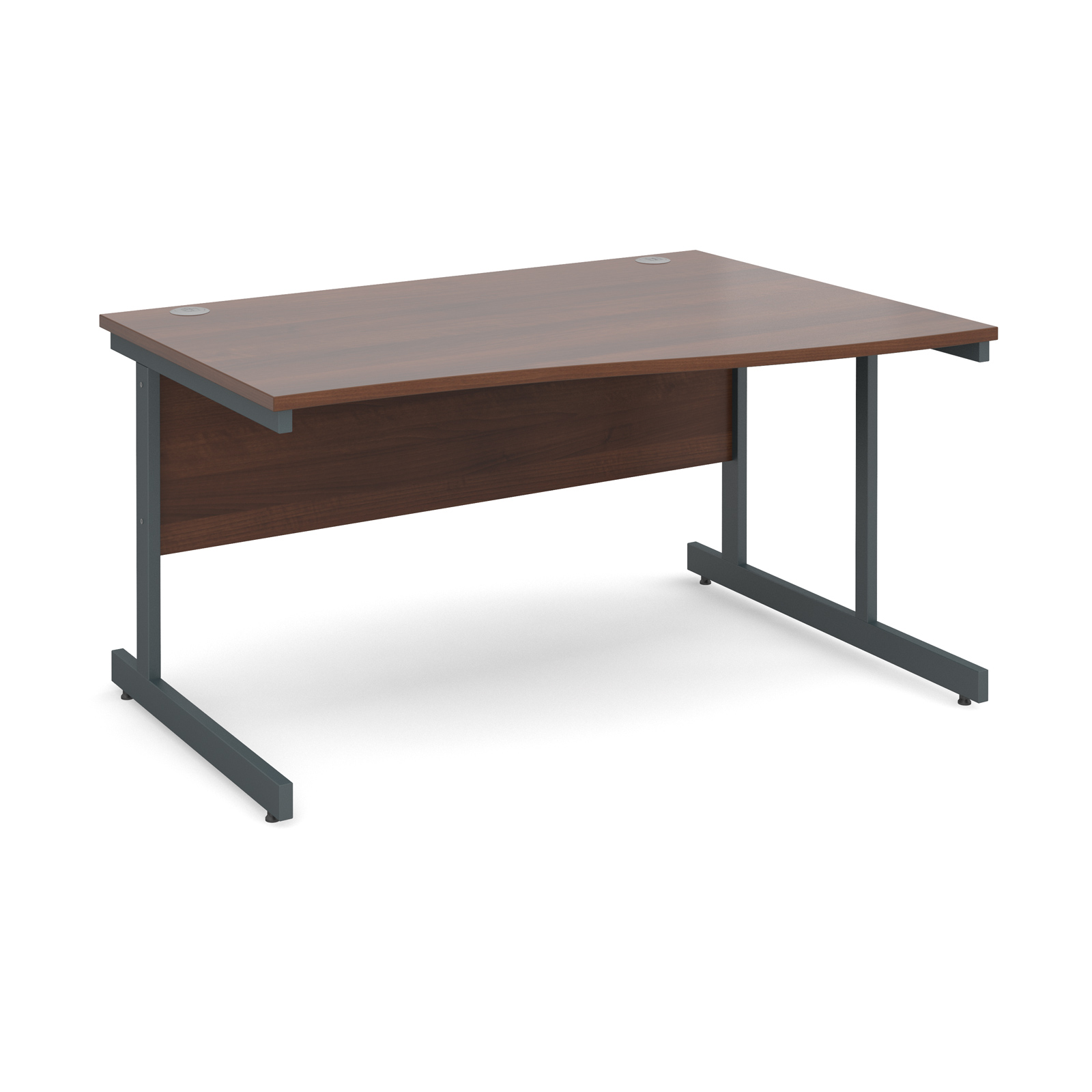 Contract 25 right hand wave desk 1400mm - graphite cantilever frame, walnut top