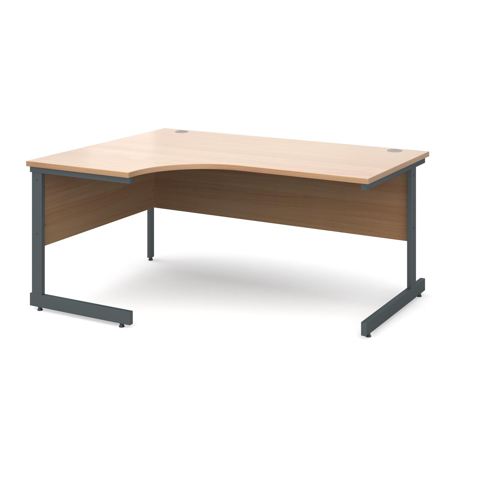 Contract 25 left hand ergonomic desk 1600mm - graphite cantilever frame, beech top