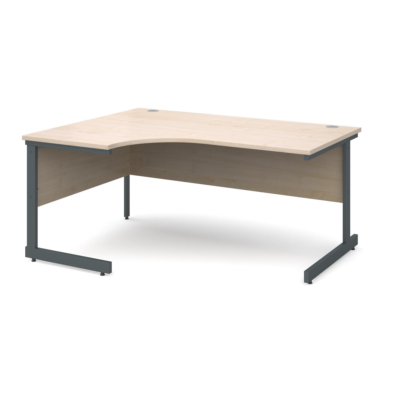Contract 25 left hand ergonomic desk 1600mm - graphite cantilever frame, maple top