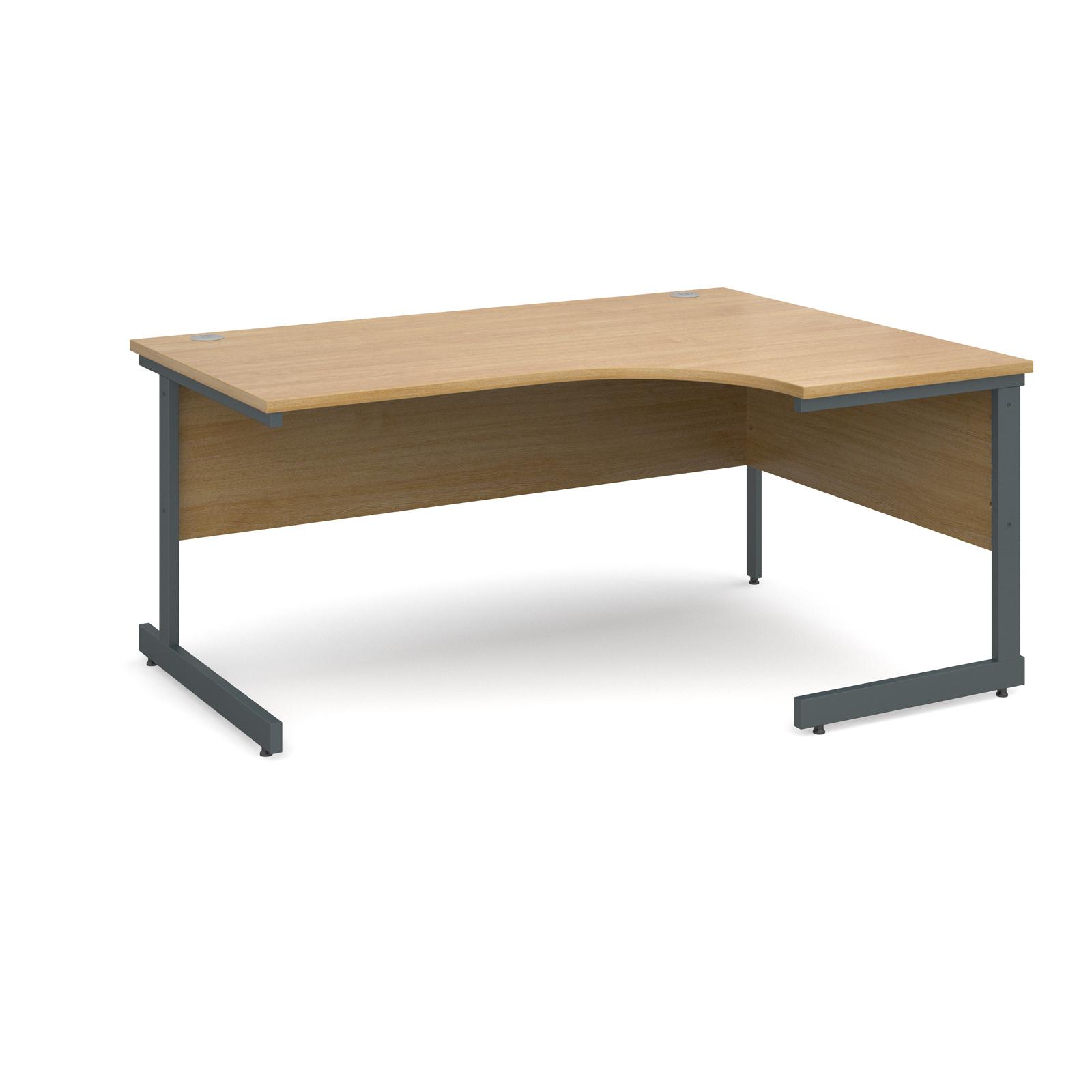 Contract 25 right hand ergonomic desk 1600mm - graphite cantilever frame, oak top