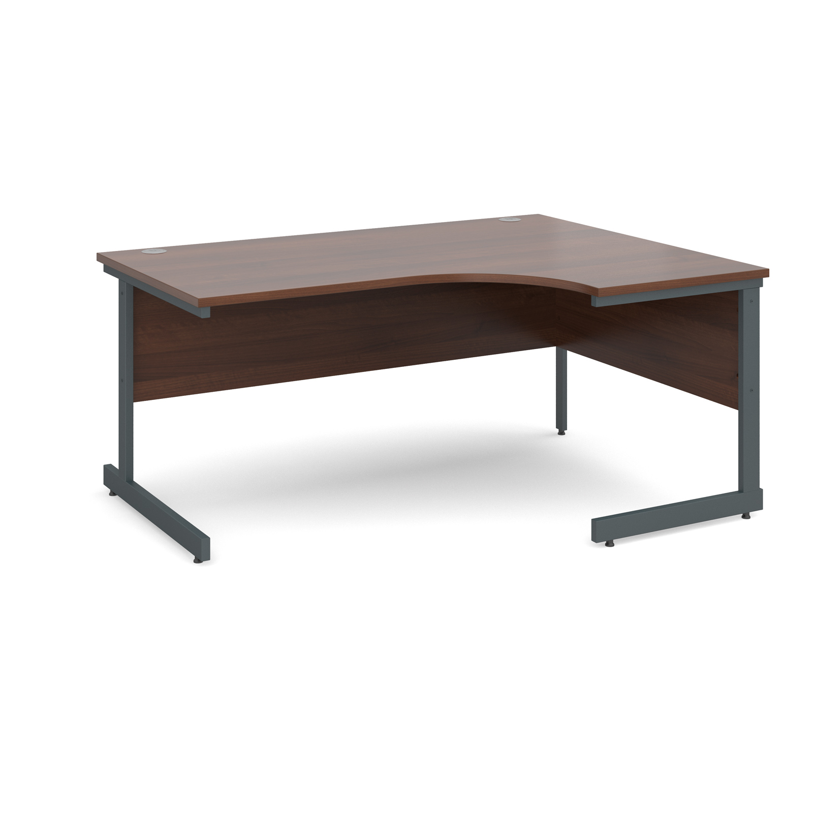 Contract 25 right hand ergonomic desk 1600mm - graphite cantilever frame, walnut top
