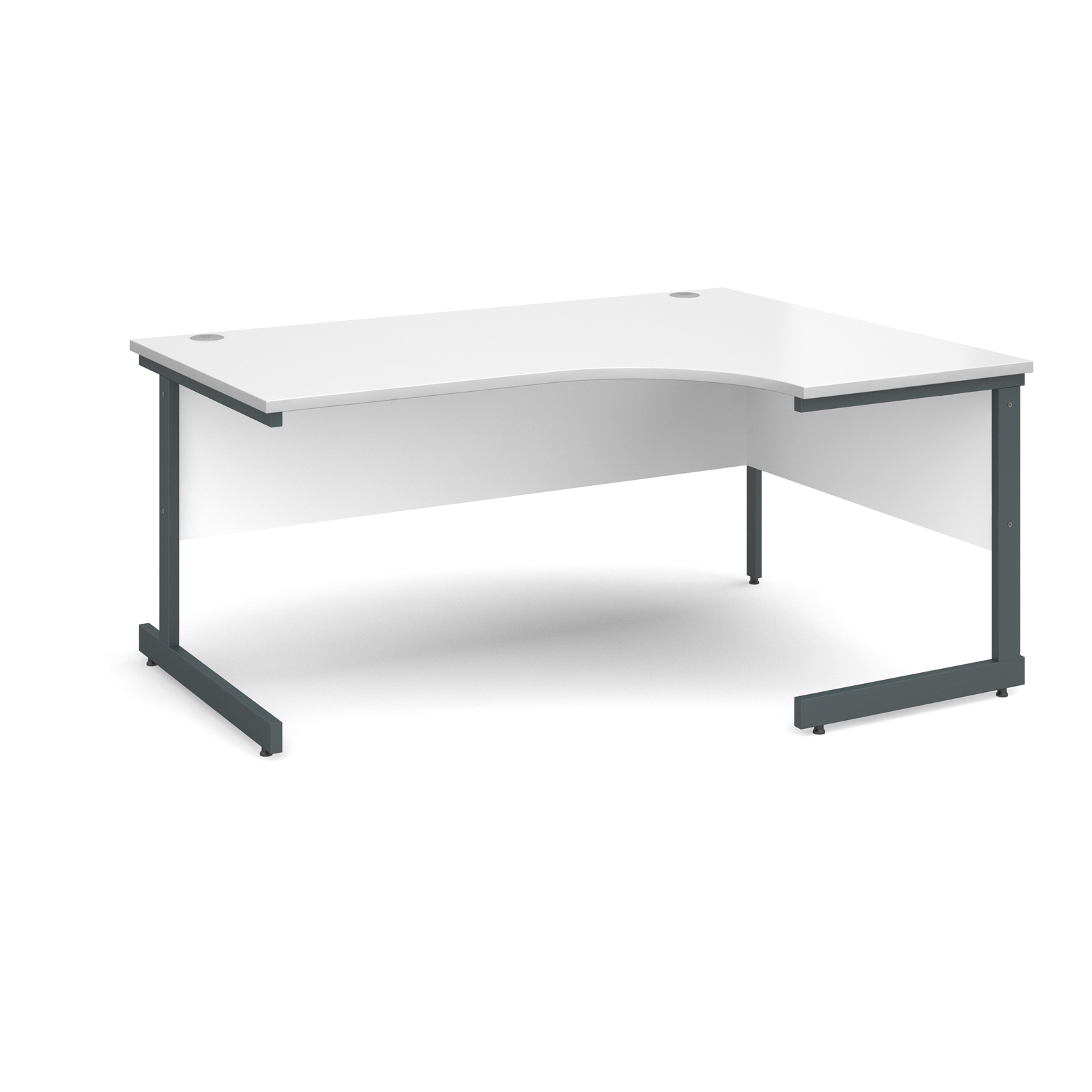 Contract 25 right hand ergonomic desk 1600mm - graphite cantilever frame, white top
