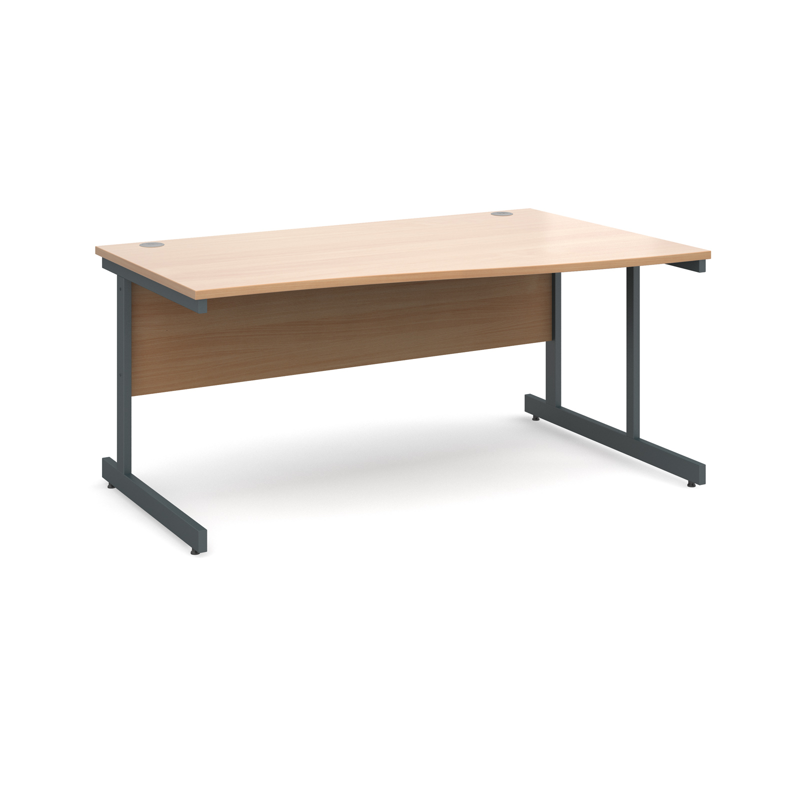 Contract 25 right hand wave desk 1600mm - graphite cantilever frame, beech top