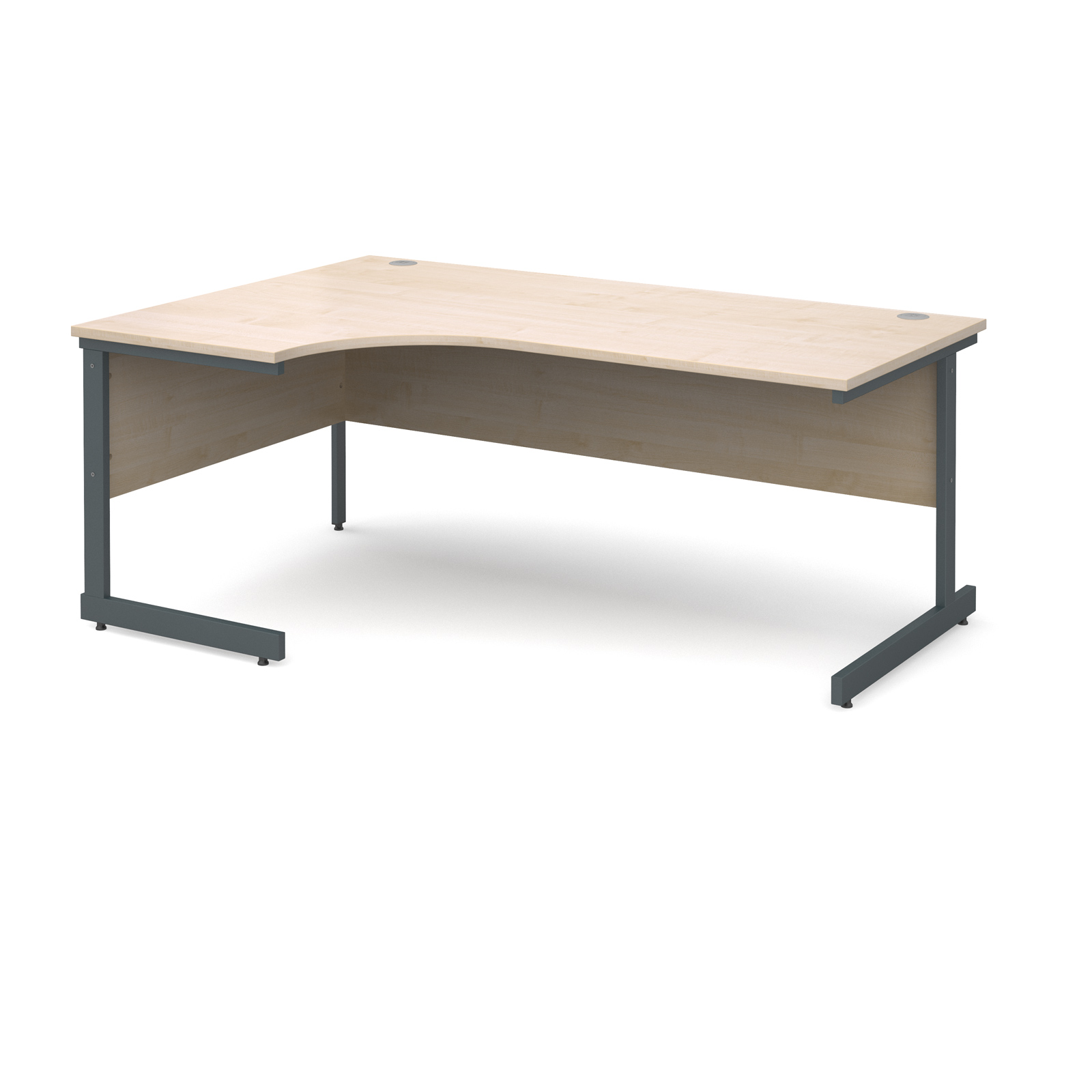 Contract 25 left hand ergonomic desk 1800mm - graphite cantilever frame, maple top
