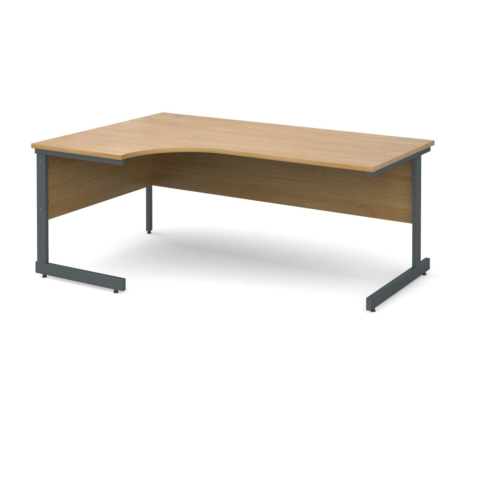 Contract 25 left hand ergonomic desk 1800mm - graphite cantilever frame, oak top