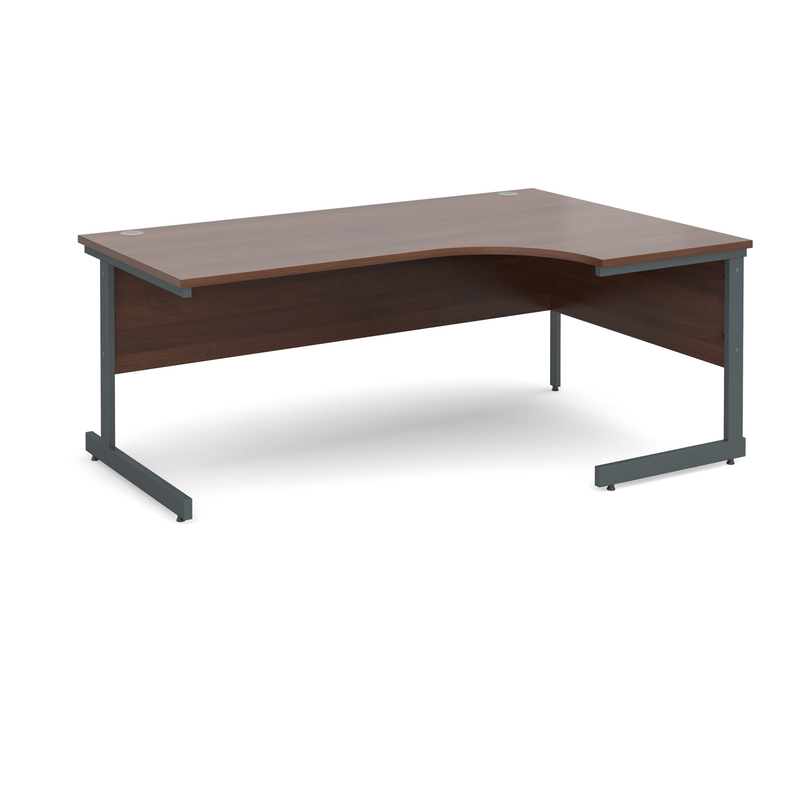 Contract 25 right hand ergonomic desk 1800mm - graphite cantilever frame, walnut top