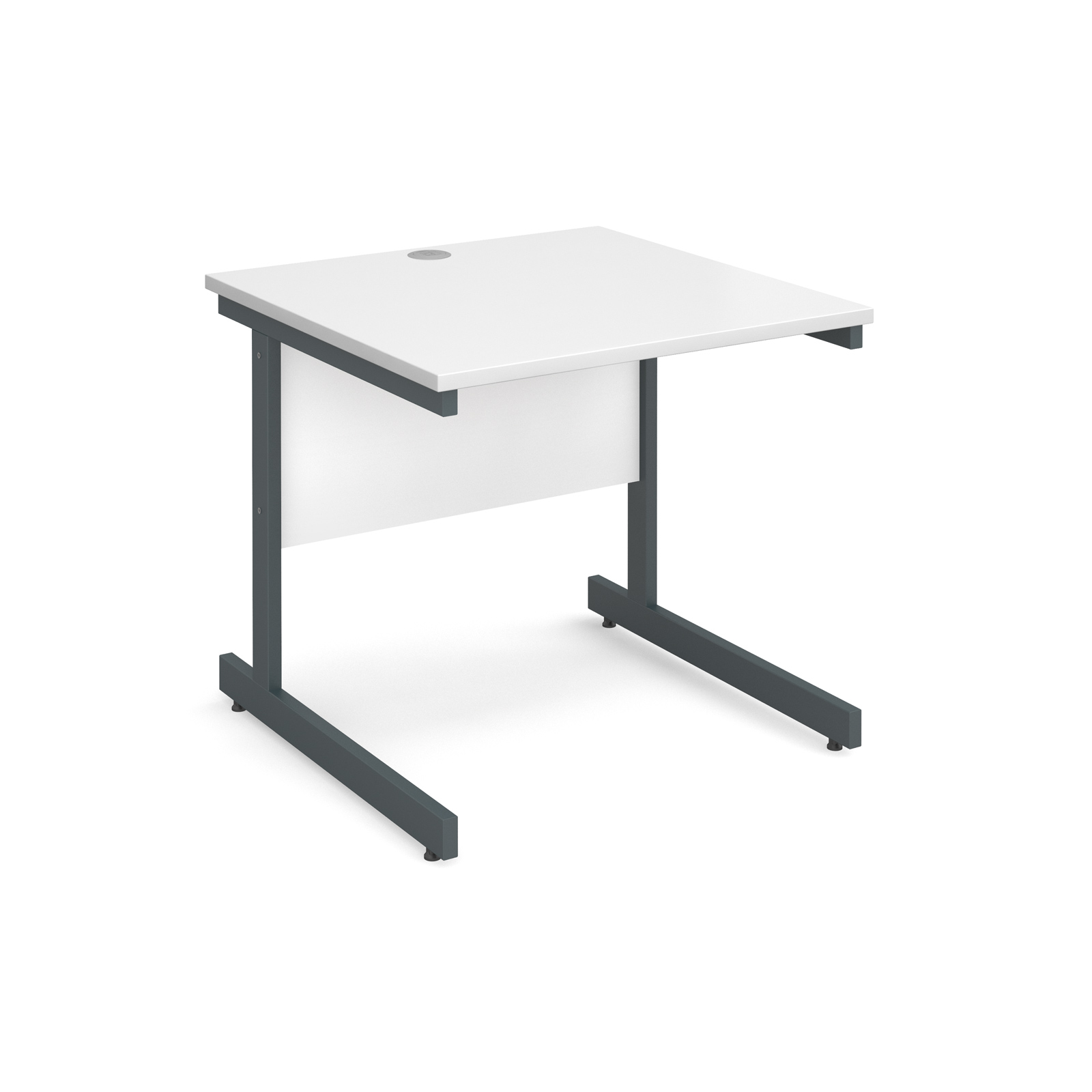 Contract 25 straight desk 800mm x 800mm - graphite cantilever frame, white top