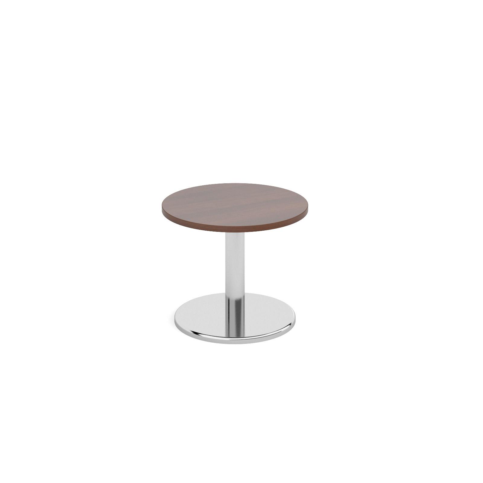 Circular coffee table with round chrome base 600mm - walnut