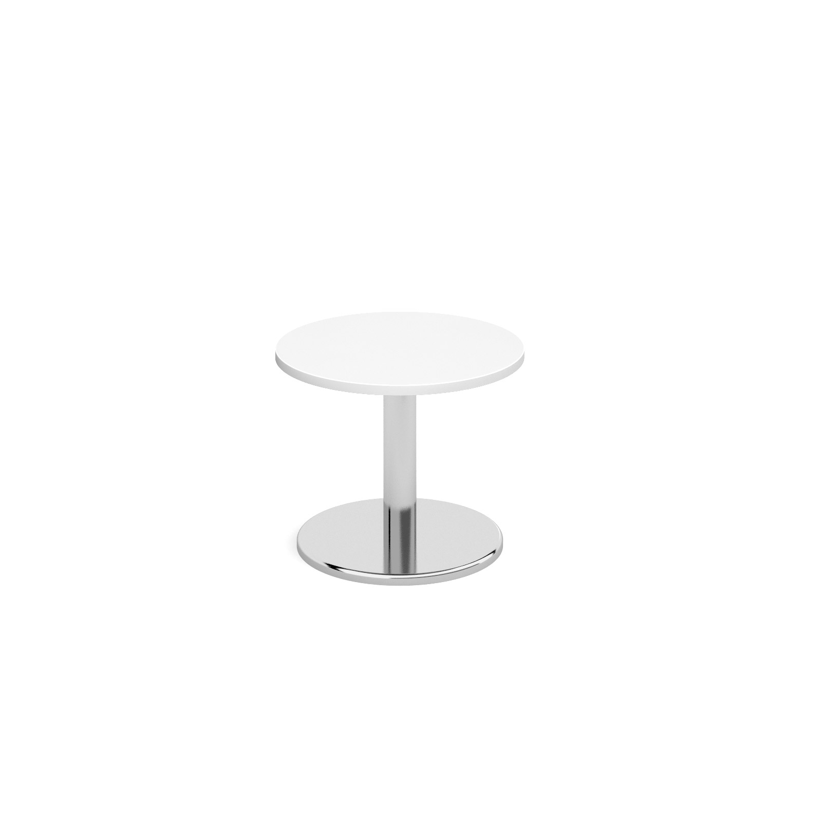 Circular coffee table with round chrome base 600mm - white