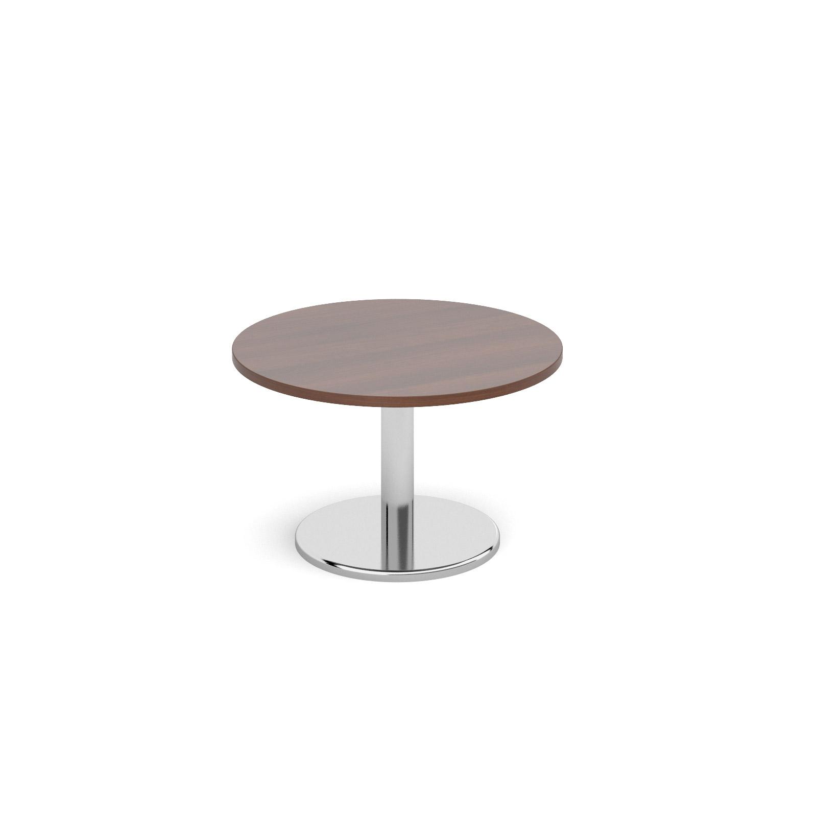 Circular coffee table with round chrome base 800mm - walnut