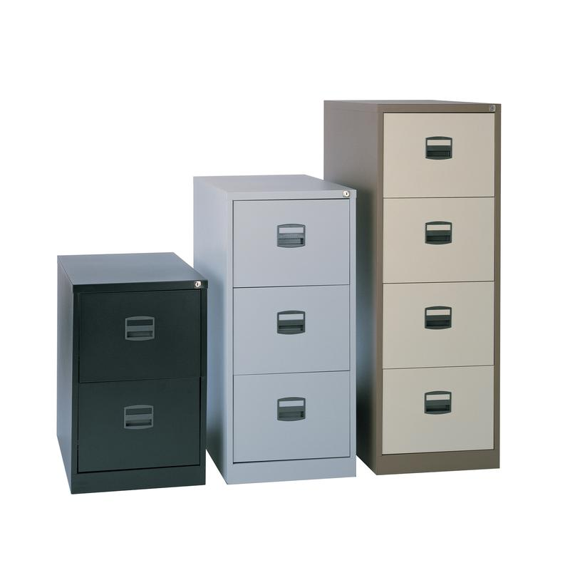 Image for Bisley Contract Filing Cabinet Lockable 2-Drawer Foolscap Coffee/Cream