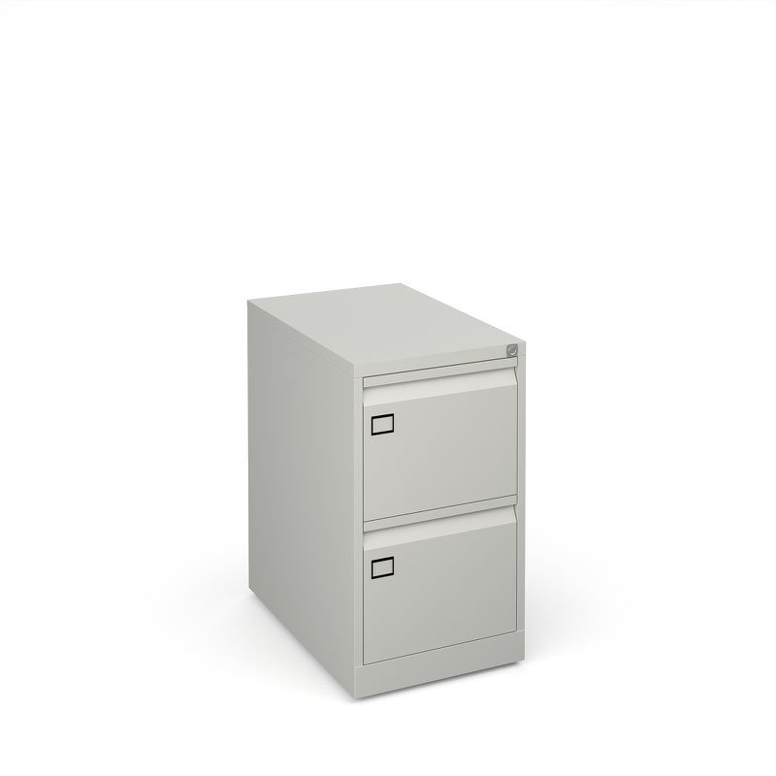 Steel 2 drawer filing cabinet 711mm high - goose grey