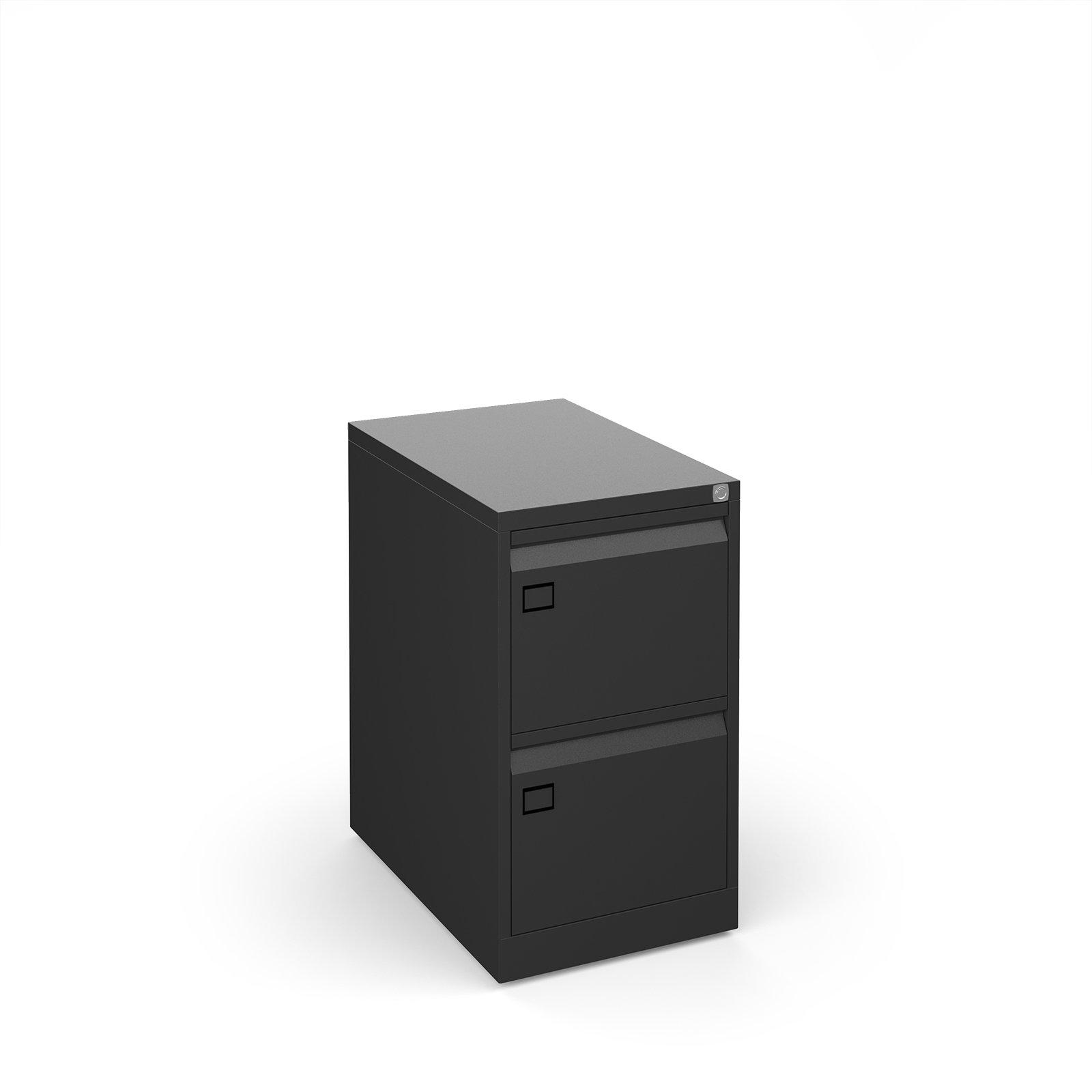 Steel 2 drawer filing cabinet 711mm high - black