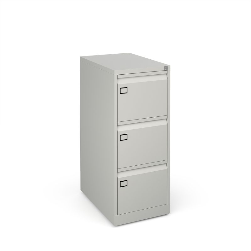 Steel 3 drawer filing cabinet 1016mm high - goose grey
