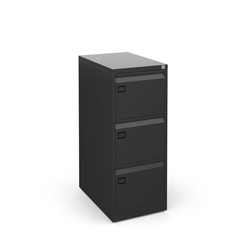 Steel 3 drawer filing cabinet 1016mm high - black