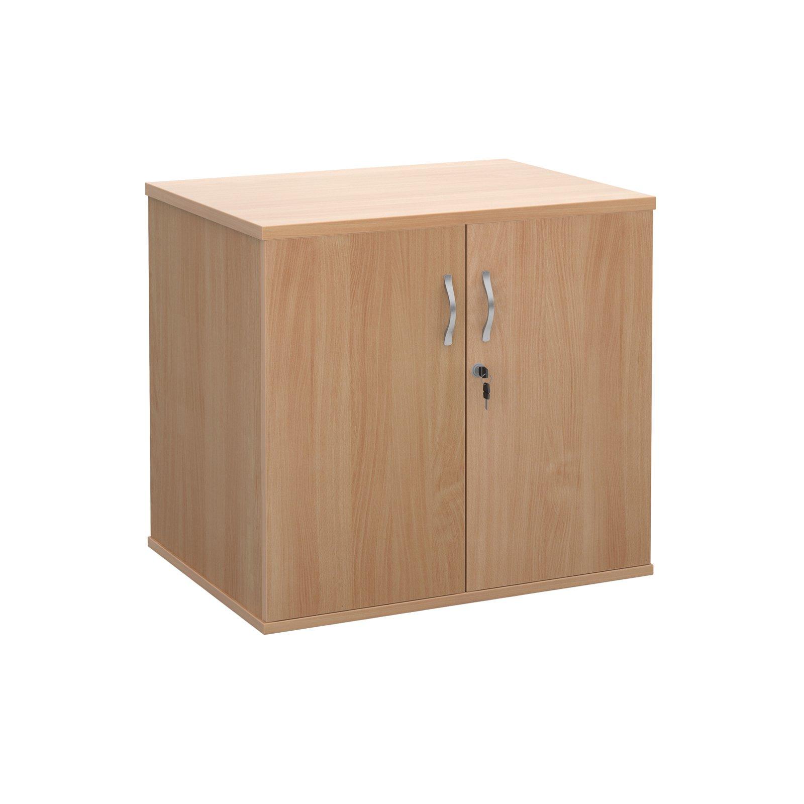 Deluxe double door desk high cupboard 600mm deep - beech