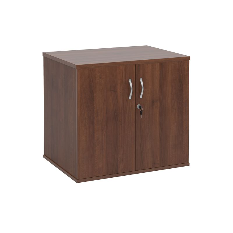 Deluxe double door desk high cupboard 600mm deep - walnut