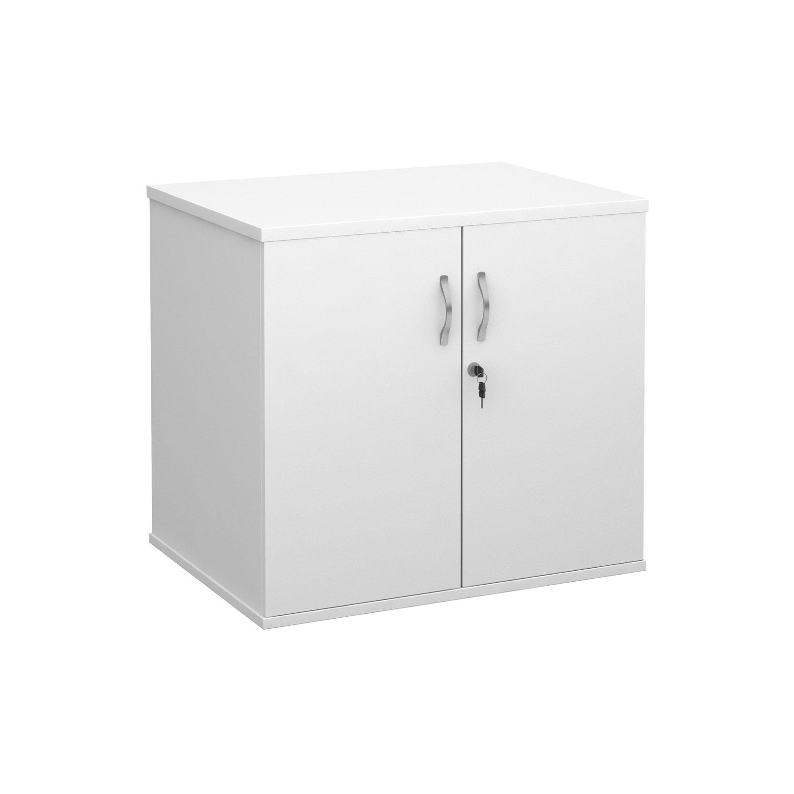 Deluxe double door desk high cupboard 600mm deep - white