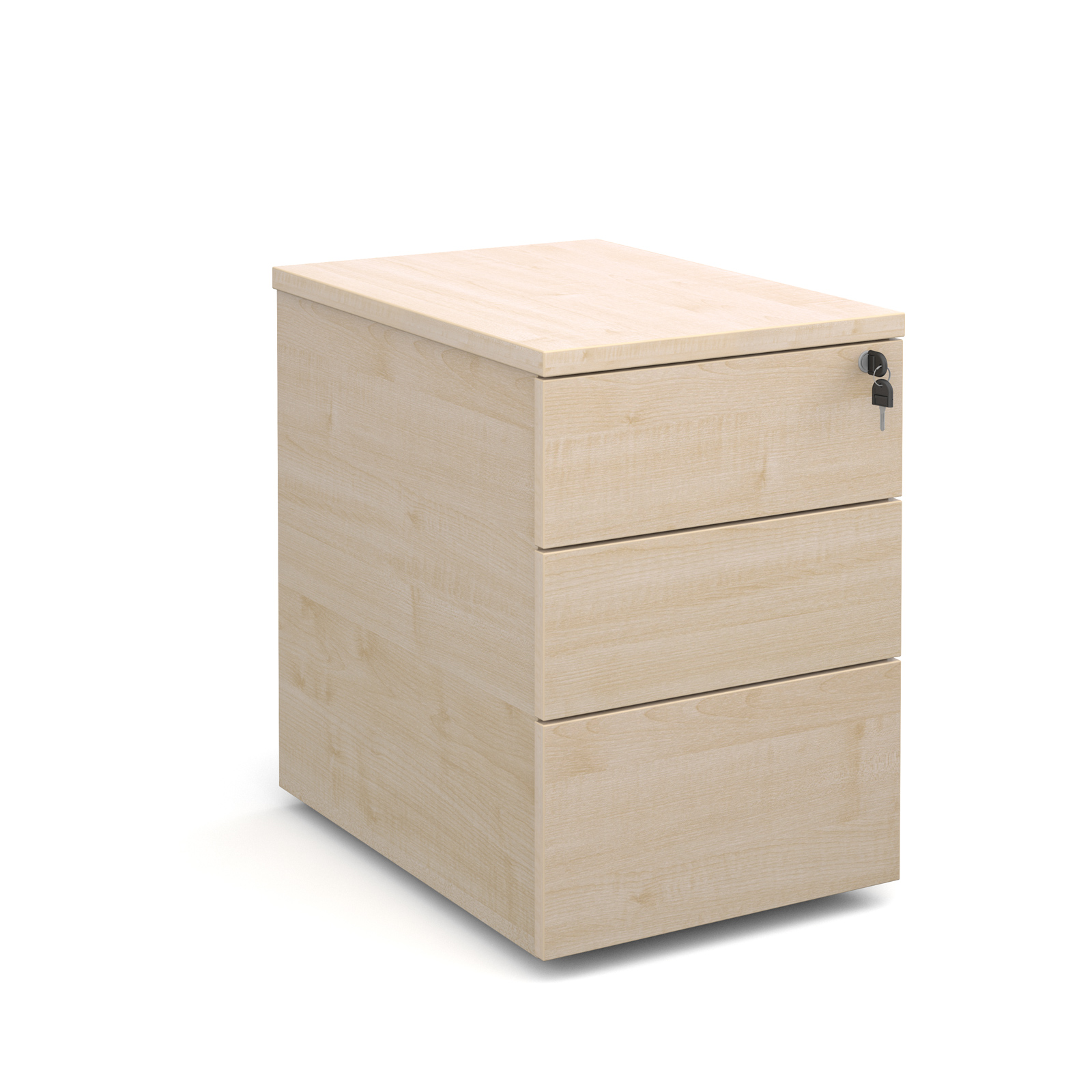 Deluxe 3 drawer mobile pedestal 600mm deep - maple