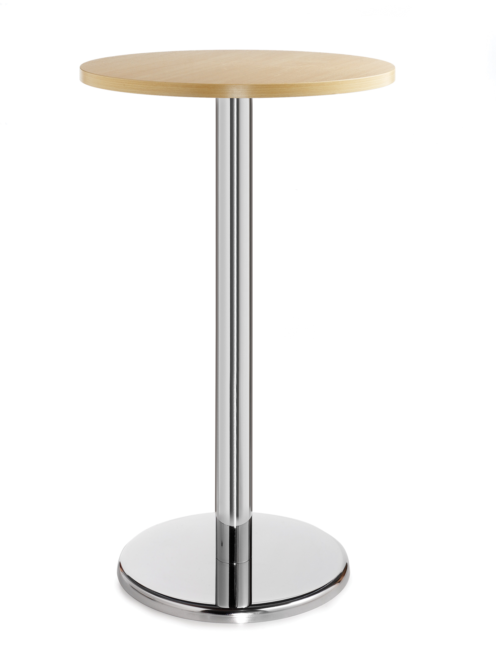 Pisa circular poseur table with round chrome base 800mm - beech
