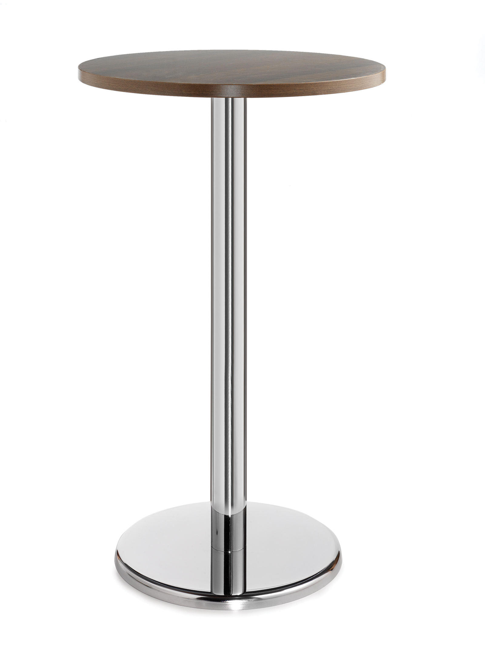 Pisa circular poseur table with round chrome base 800mm - walnut